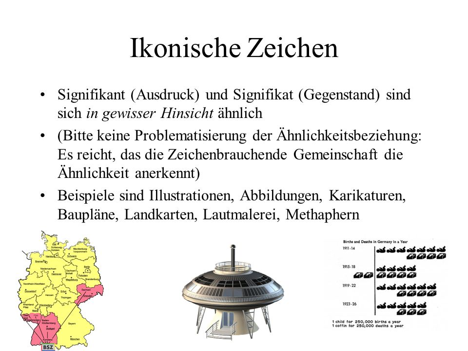 Ikonische Zeichen Signifikant (Ausdruck) und Signifikat (Gegenstand) sind sich in gewisser Hinsicht ähnlich.