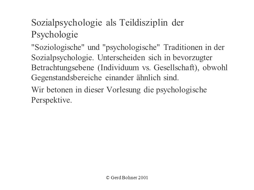 Sozialpsychologie als Teildisziplin der Psychologie