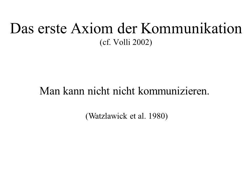 Das erste Axiom der Kommunikation (cf. Volli 2002)