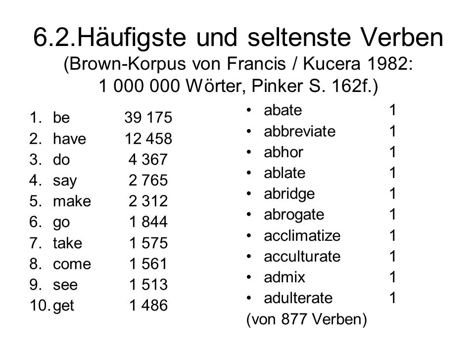 6.2.Häufigste und seltenste Verben (Brown-Korpus von Francis / Kucera 1982: 1 000 000 Wörter, Pinker S. 162f.)