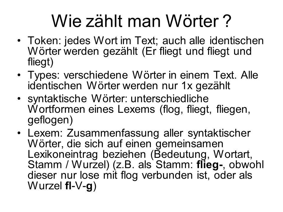 Wie zählt man Wörter Token: jedes Wort im Text; auch alle identischen Wörter werden gezählt (Er fliegt und fliegt und fliegt)
