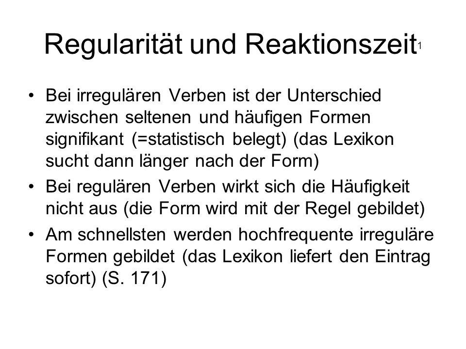 Regularität und Reaktionszeit1