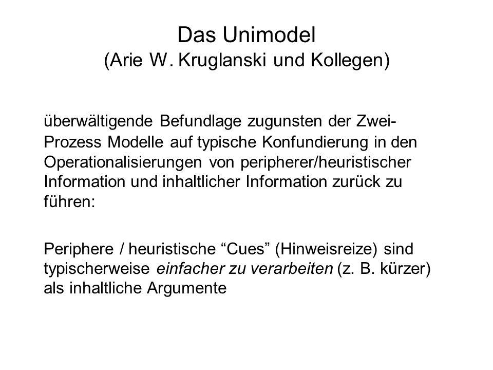 Das Unimodel (Arie W. Kruglanski und Kollegen)