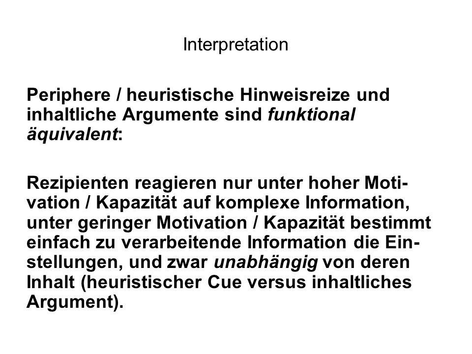 Interpretation Periphere / heuristische Hinweisreize und inhaltliche Argumente sind funktional äquivalent: