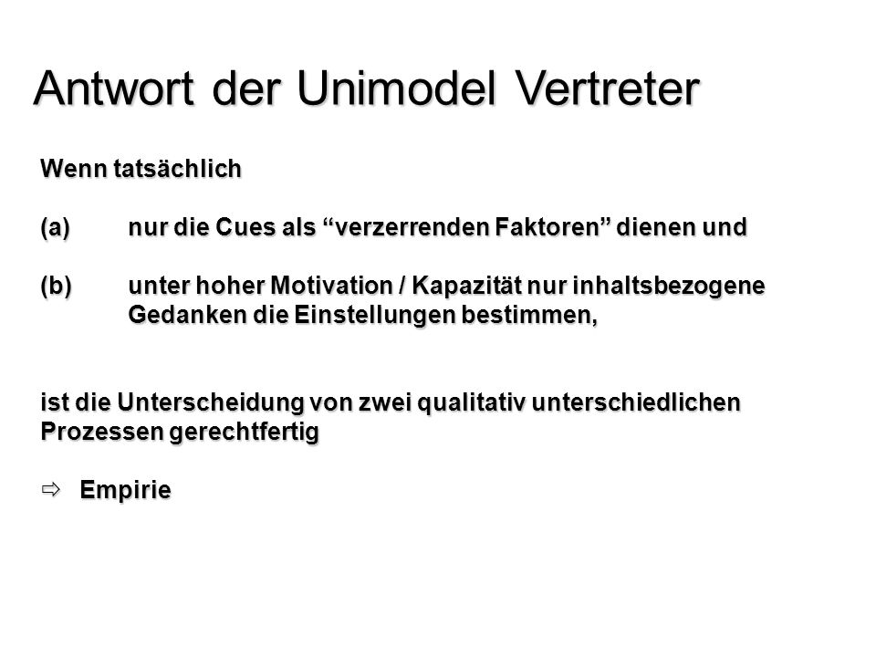 Antwort der Unimodel Vertreter