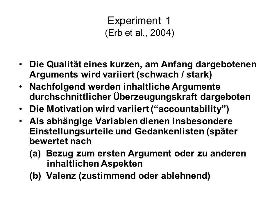 Experiment 1 (Erb et al., 2004) Die Qualität eines kurzen, am Anfang dargebotenen Arguments wird variiert (schwach / stark)