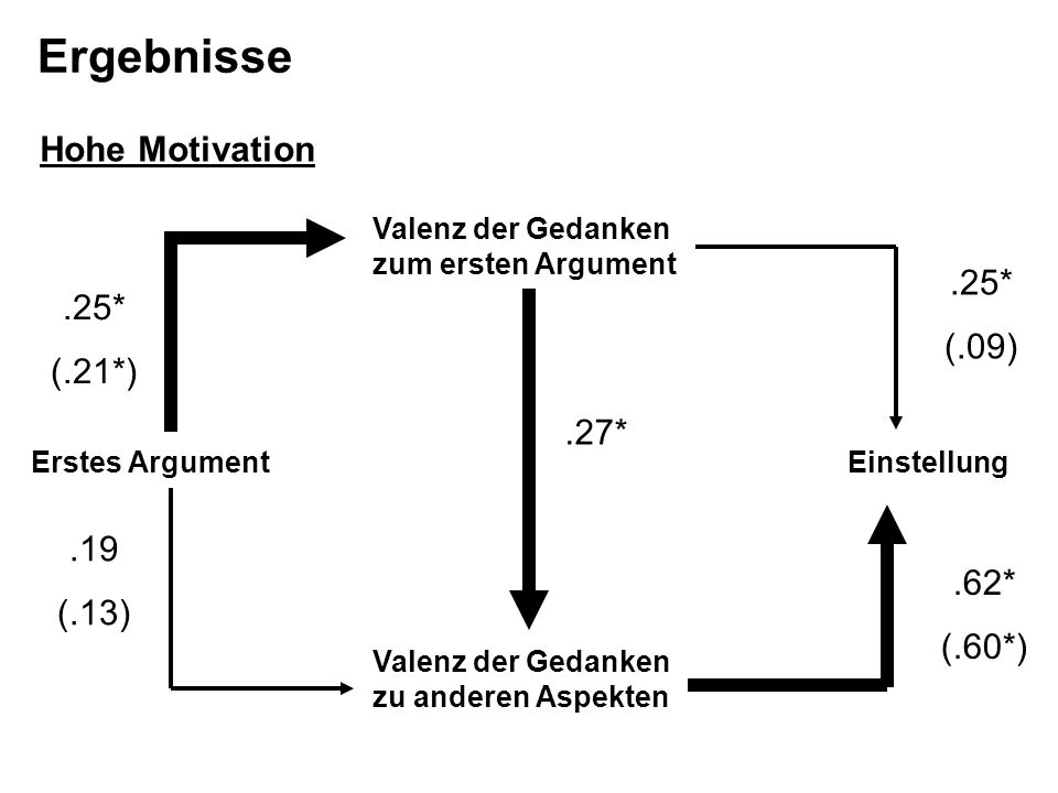 Ergebnisse Hohe Motivation .25* (.09) .25* (.21*) .27* .19 (.13) .62*