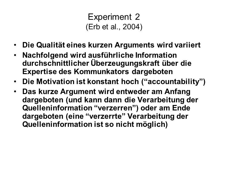Experiment 2 (Erb et al., 2004) Die Qualität eines kurzen Arguments wird variiert.