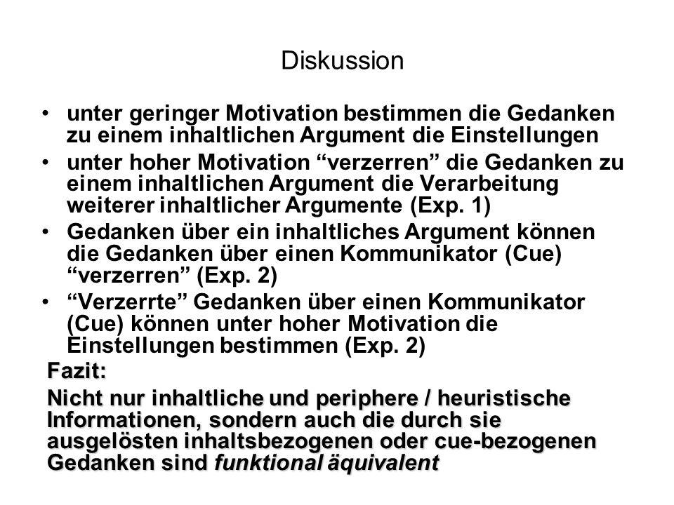 Diskussion unter geringer Motivation bestimmen die Gedanken zu einem inhaltlichen Argument die Einstellungen.