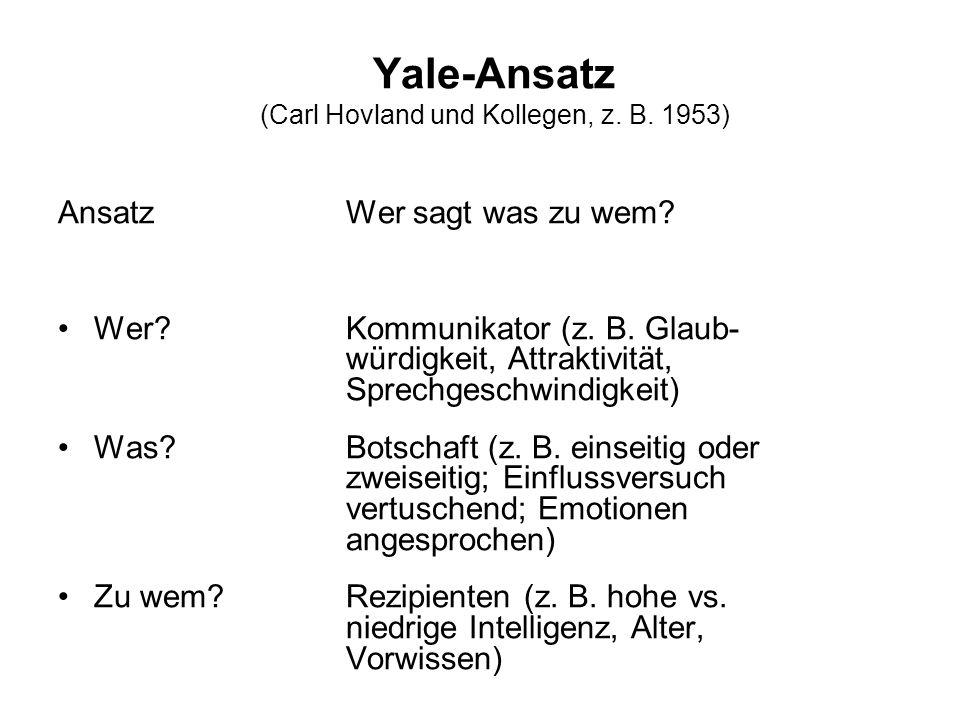 Yale-Ansatz (Carl Hovland und Kollegen, z. B. 1953)