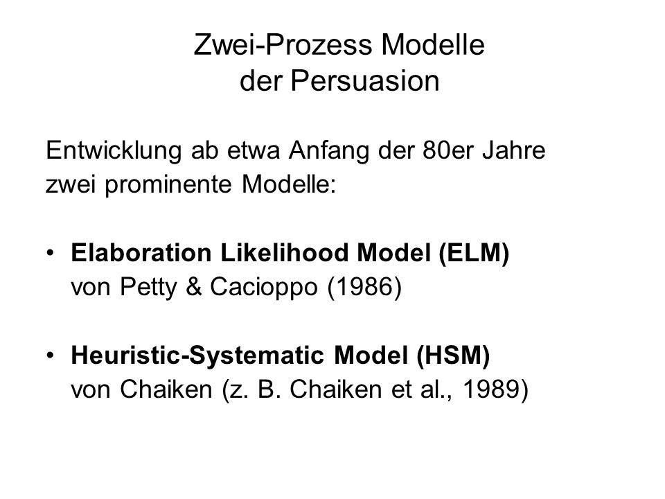 Zwei-Prozess Modelle der Persuasion
