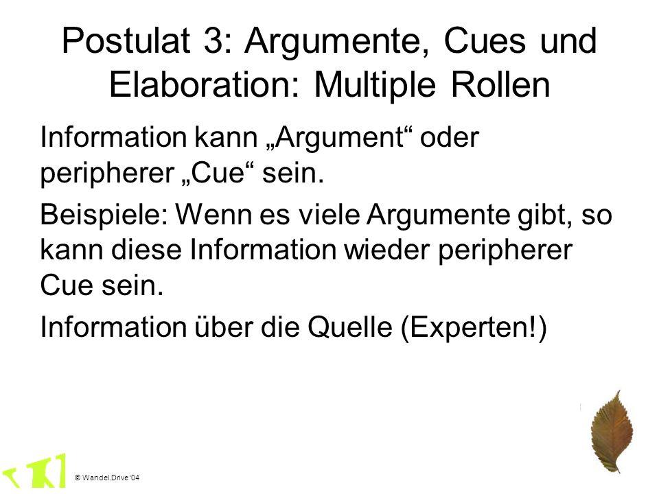 Postulat 3: Argumente, Cues und Elaboration: Multiple Rollen