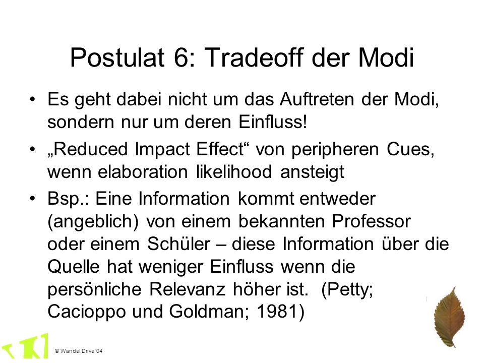 Postulat 6: Tradeoff der Modi