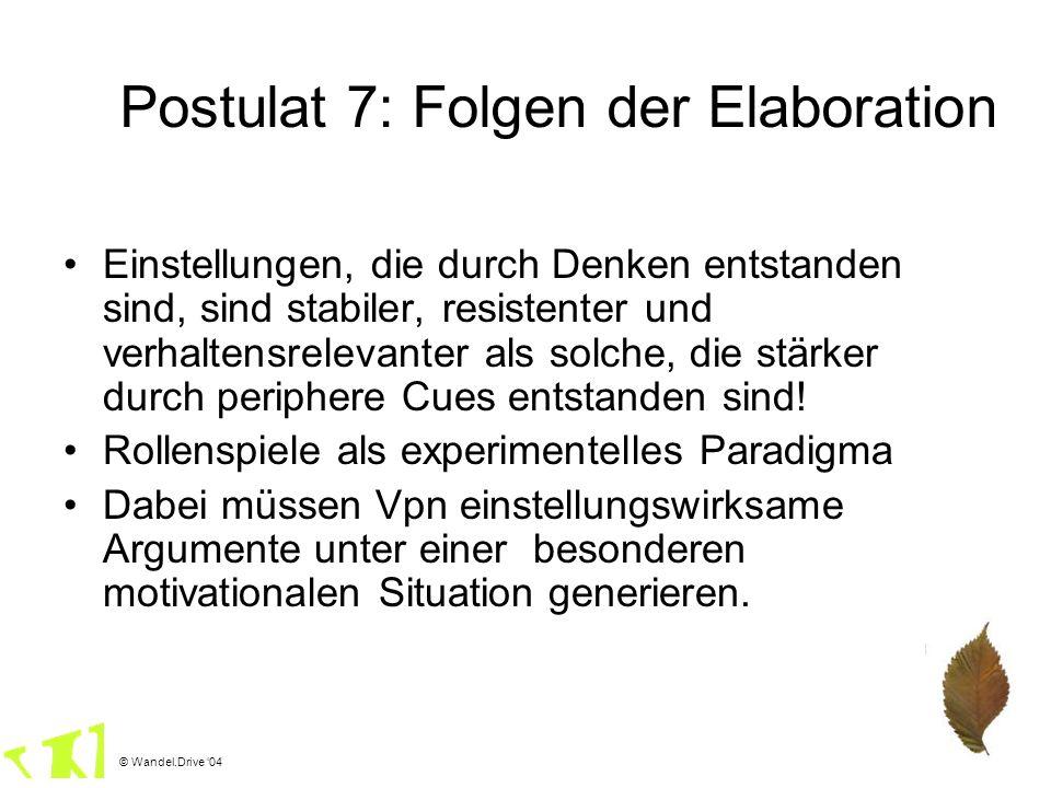 Postulat 7: Folgen der Elaboration