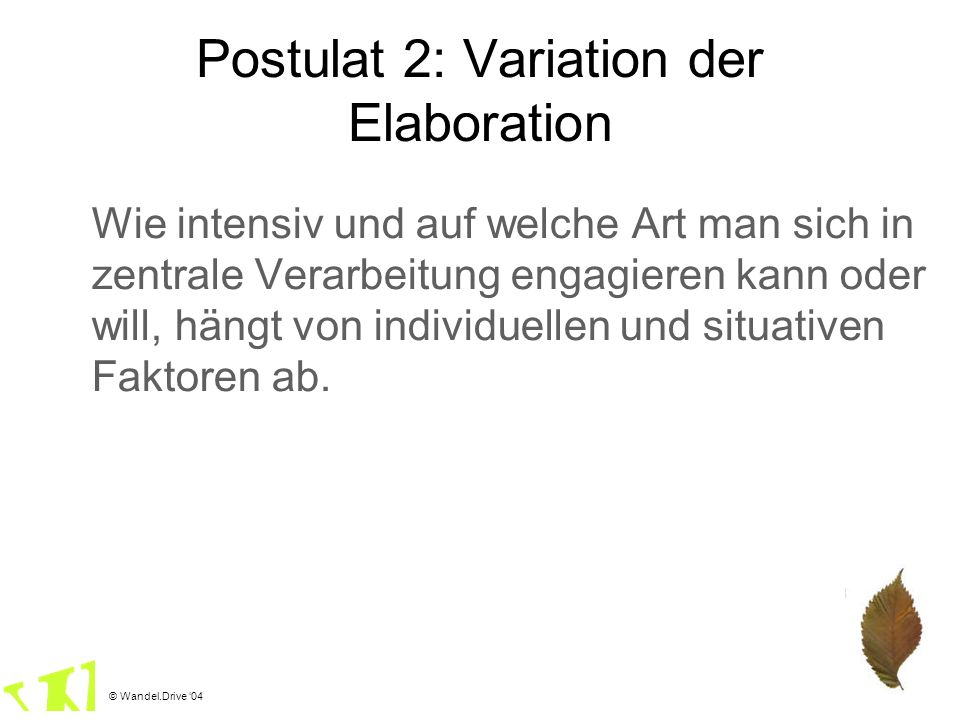 Postulat 2: Variation der Elaboration