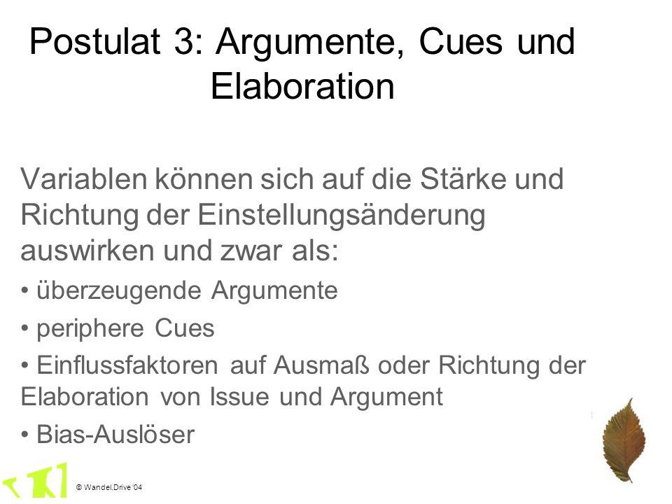 Postulat 3: Argumente, Cues und Elaboration