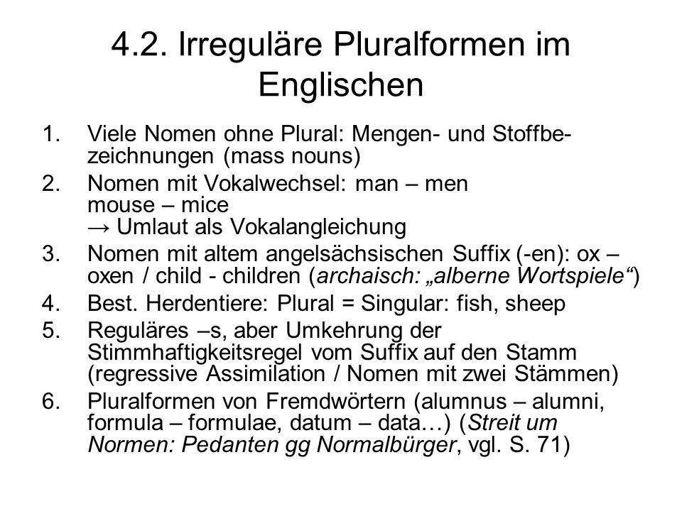4.2. Irreguläre Pluralformen im Englischen