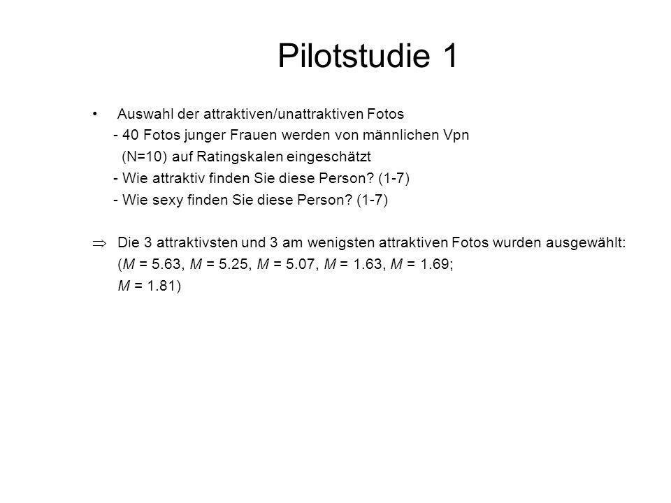 Pilotstudie 1 Auswahl der attraktiven/unattraktiven Fotos