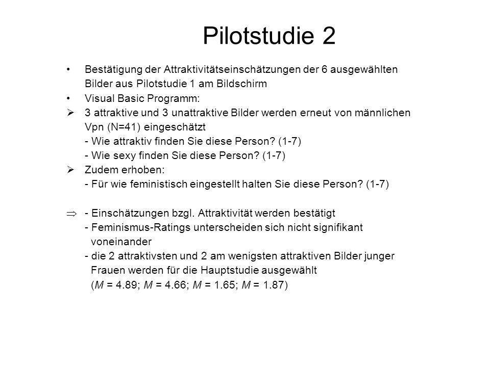 Pilotstudie 2 Bestätigung der Attraktivitätseinschätzungen der 6 ausgewählten. Bilder aus Pilotstudie 1 am Bildschirm.