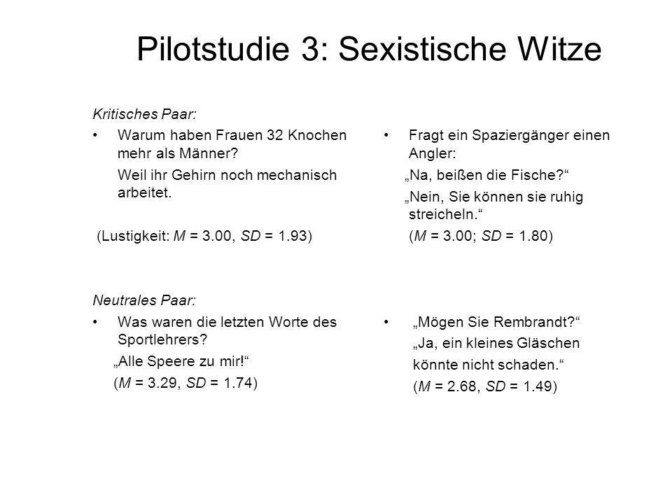 Pilotstudie 3: Sexistische Witze