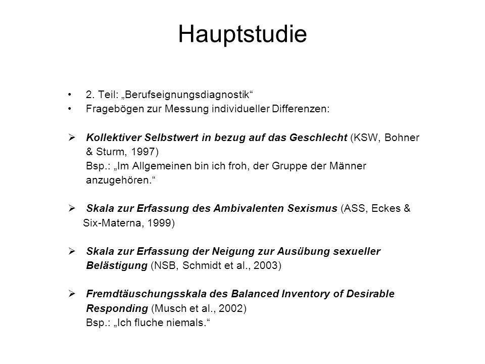 """Hauptstudie 2. Teil: """"Berufseignungsdiagnostik"""