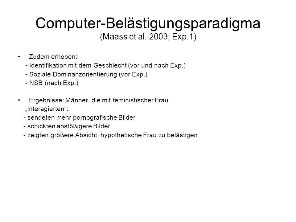 Computer-Belästigungsparadigma (Maass et al. 2003; Exp.1)
