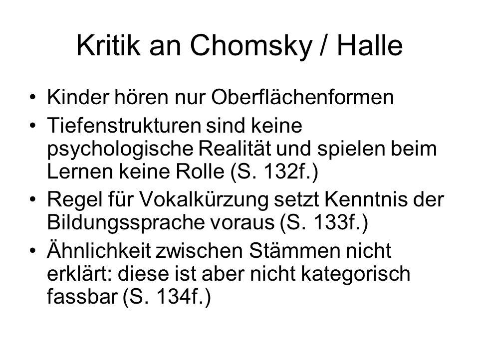 Kritik an Chomsky / Halle