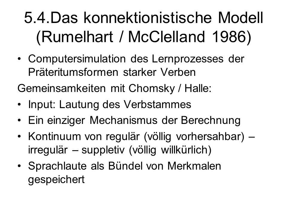 5.4.Das konnektionistische Modell (Rumelhart / McClelland 1986)