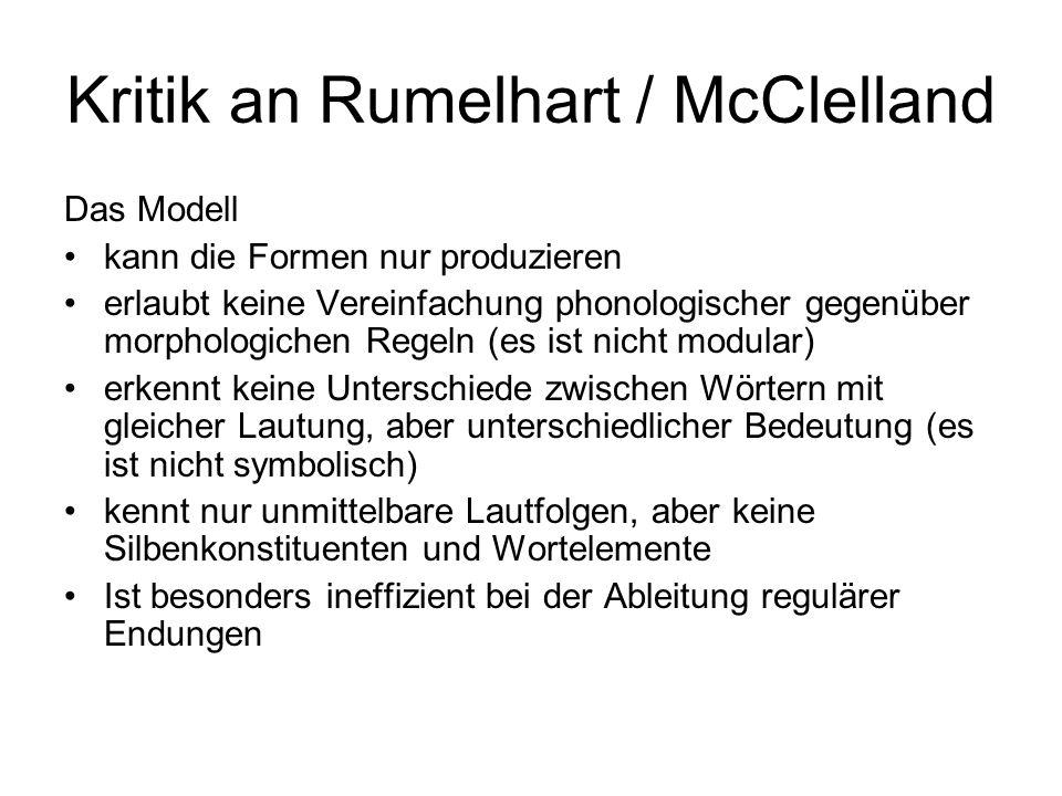 Kritik an Rumelhart / McClelland