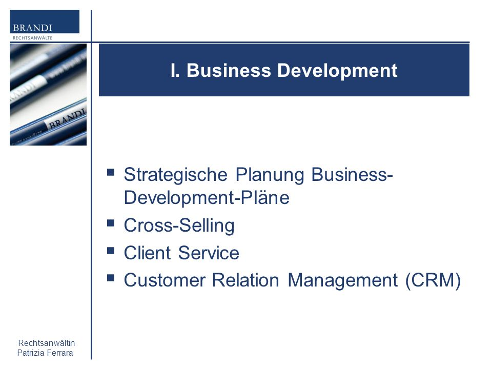 I. Business Development