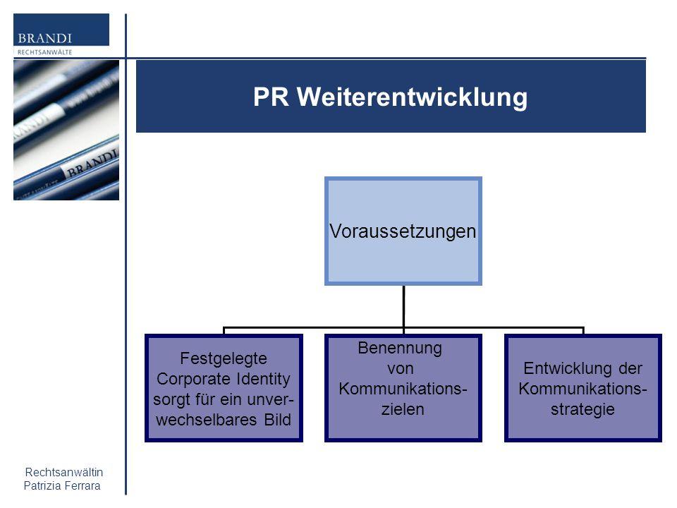 PR Weiterentwicklung Voraussetzungen Festgelegte Corporate Identity