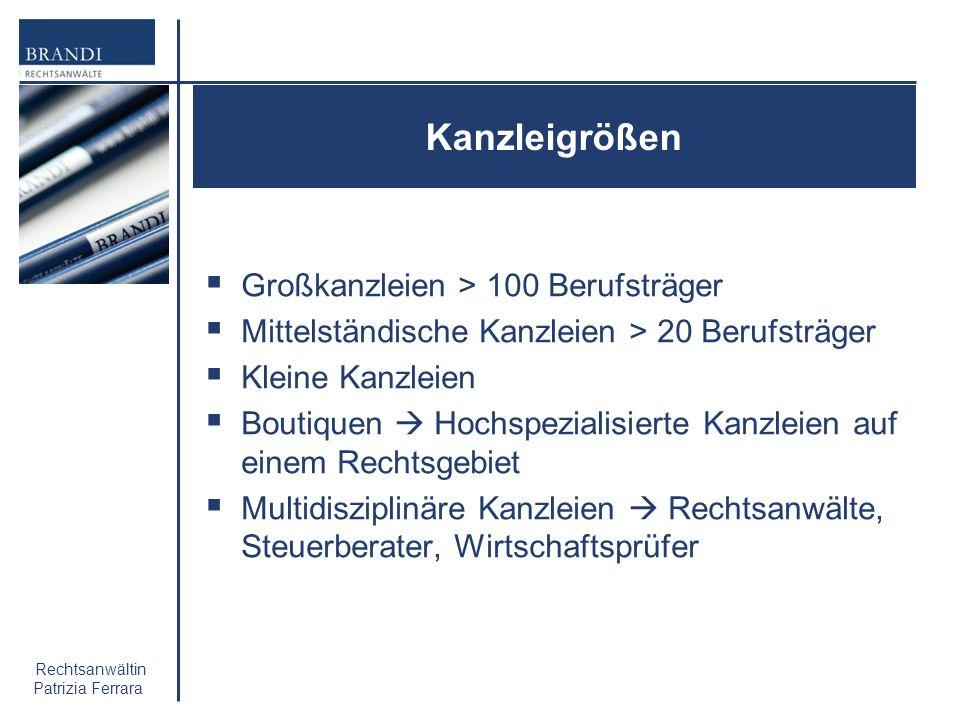 Kanzleigrößen Großkanzleien > 100 Berufsträger