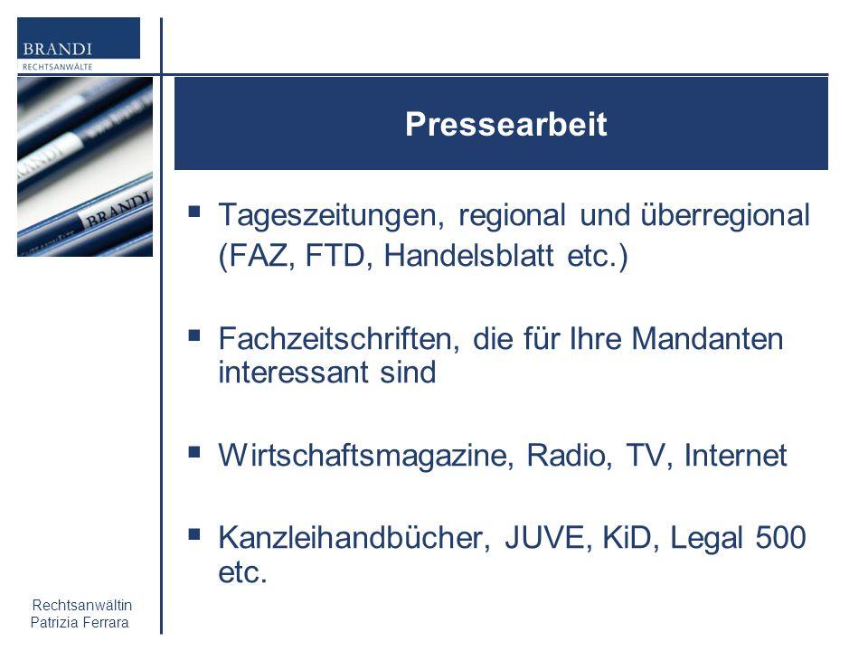 Pressearbeit Tageszeitungen, regional und überregional