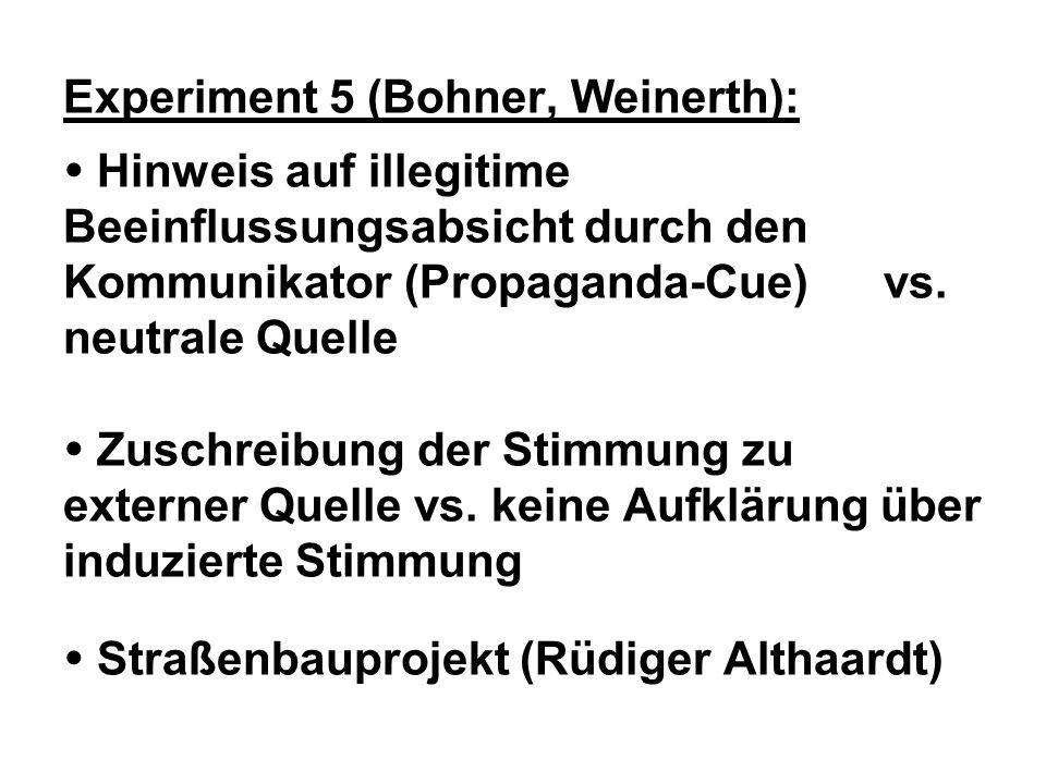 Experiment 5 (Bohner, Weinerth):  Hinweis auf illegitime Beeinflussungsabsicht durch den Kommunikator (Propaganda-Cue) vs.
