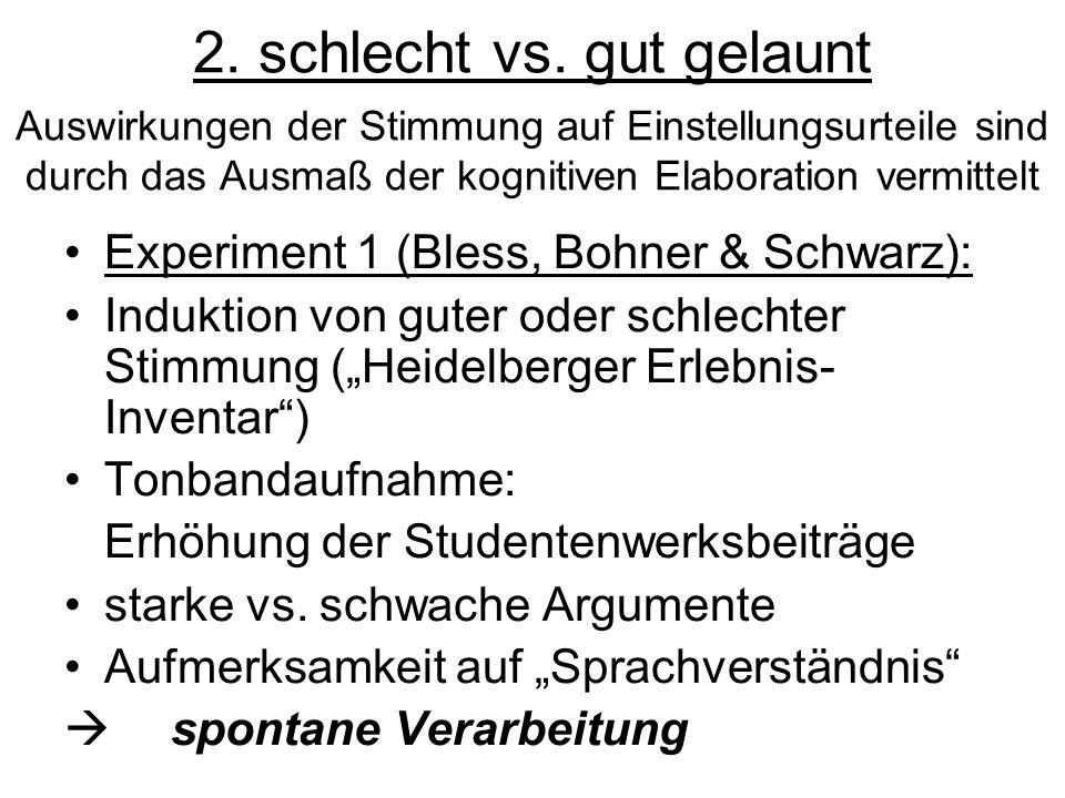 2. schlecht vs. gut gelaunt Auswirkungen der Stimmung auf Einstellungsurteile sind durch das Ausmaß der kognitiven Elaboration vermittelt