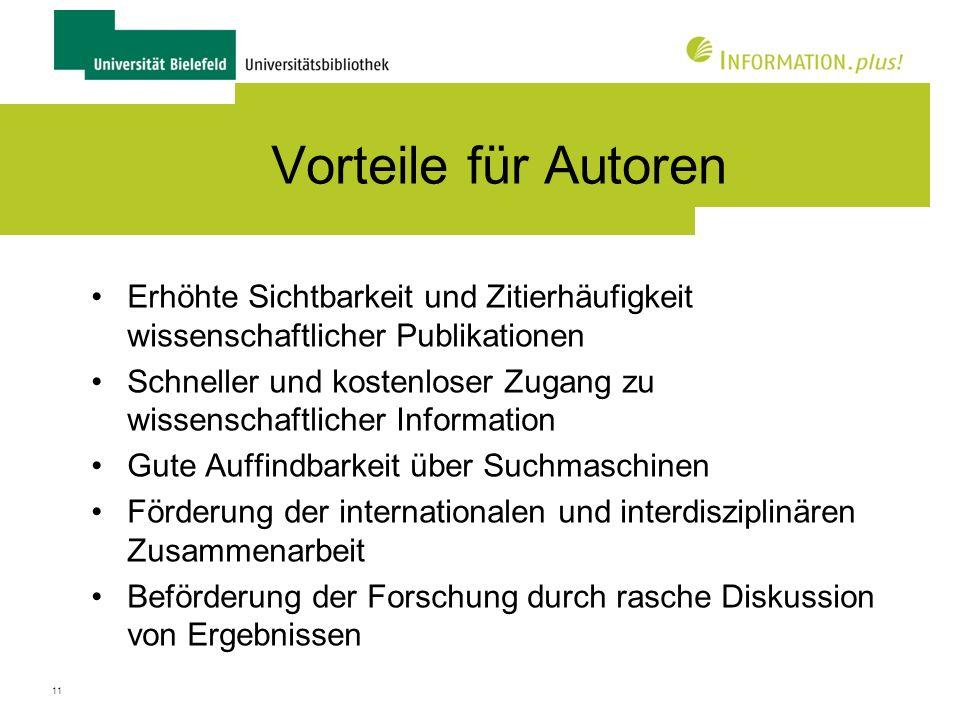 Vorteile für Autoren Erhöhte Sichtbarkeit und Zitierhäufigkeit wissenschaftlicher Publikationen.