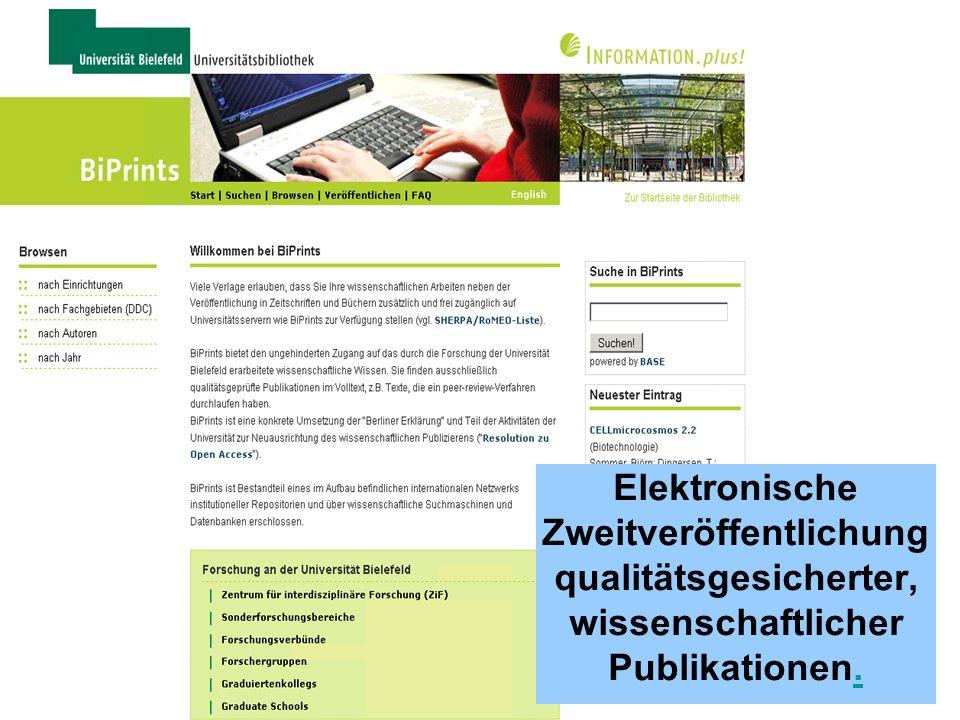 Elektronische Zweitveröffentlichung qualitätsgesicherter, wissenschaftlicher Publikationen.