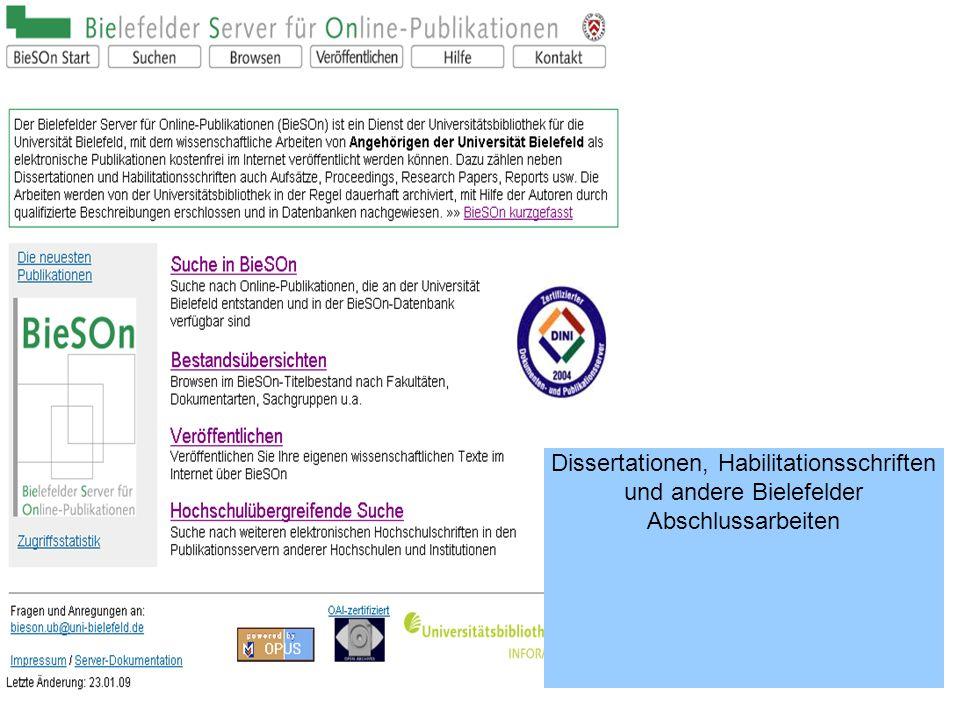 Dissertationen, Habilitationsschriften und andere Bielefelder Abschlussarbeiten