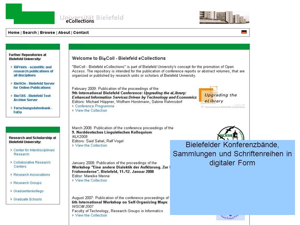Bielefelder Konferenzbände, Sammlungen und Schriftenreihen in digitaler Form