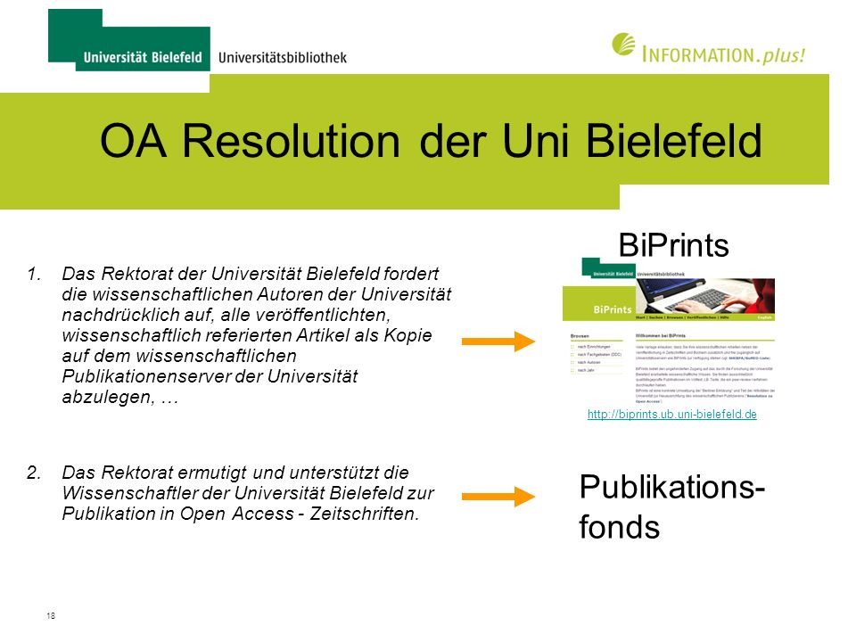 OA Resolution der Uni Bielefeld
