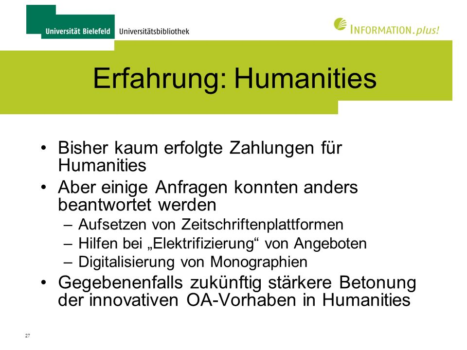 Erfahrung: Humanities