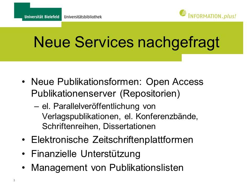 Neue Services nachgefragt