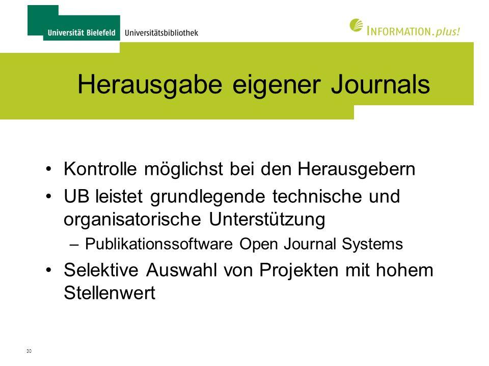 Herausgabe eigener Journals