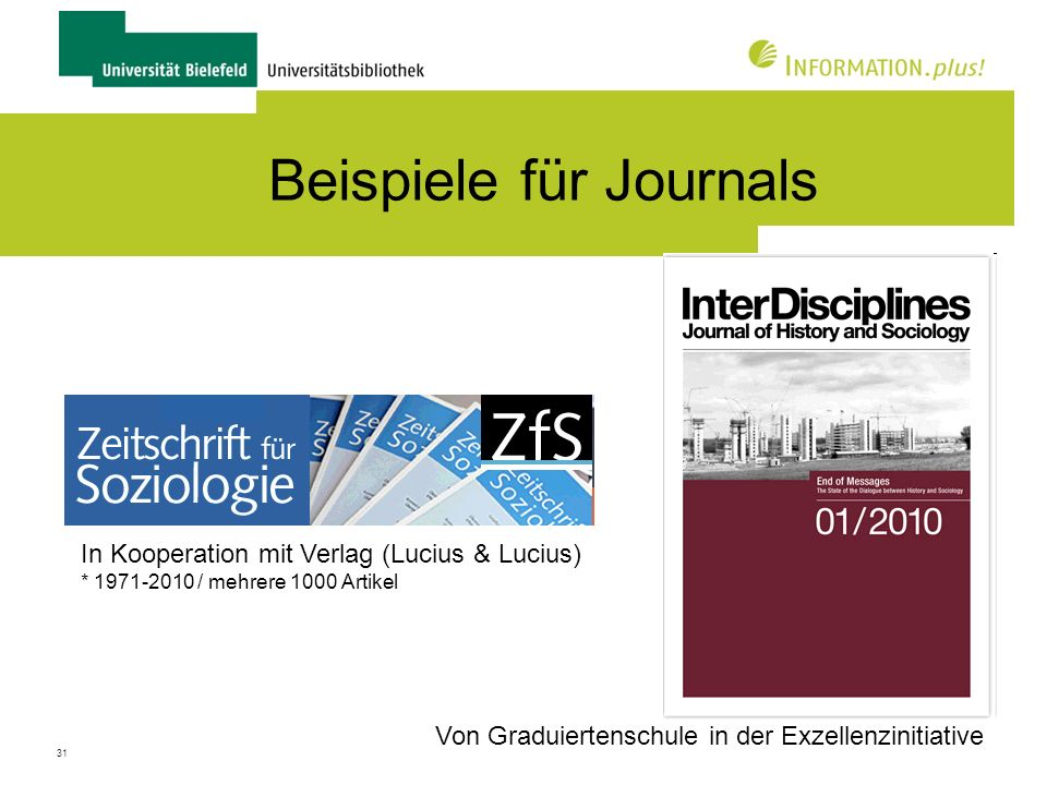 Beispiele für Journals