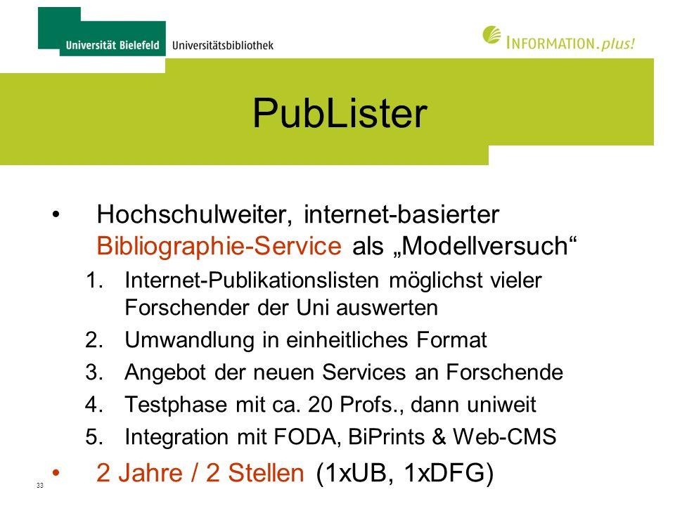 """PubLister Hochschulweiter, internet-basierter Bibliographie-Service als """"Modellversuch"""