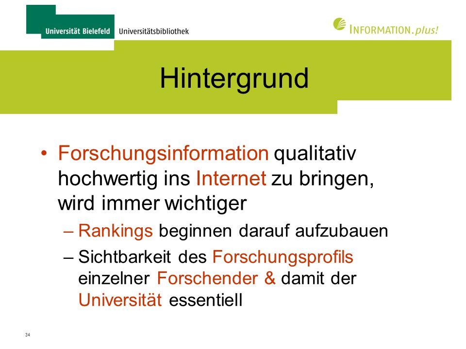 Hintergrund Forschungsinformation qualitativ hochwertig ins Internet zu bringen, wird immer wichtiger.