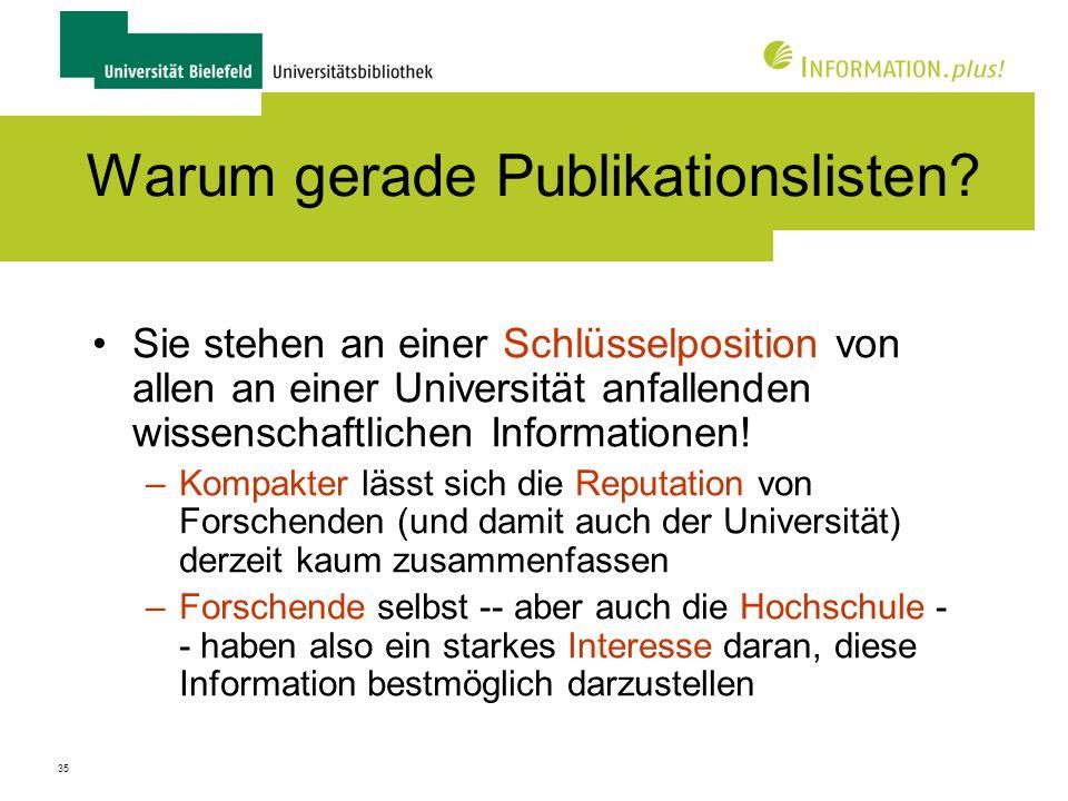 Warum gerade Publikationslisten