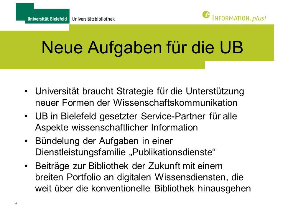 Neue Aufgaben für die UB