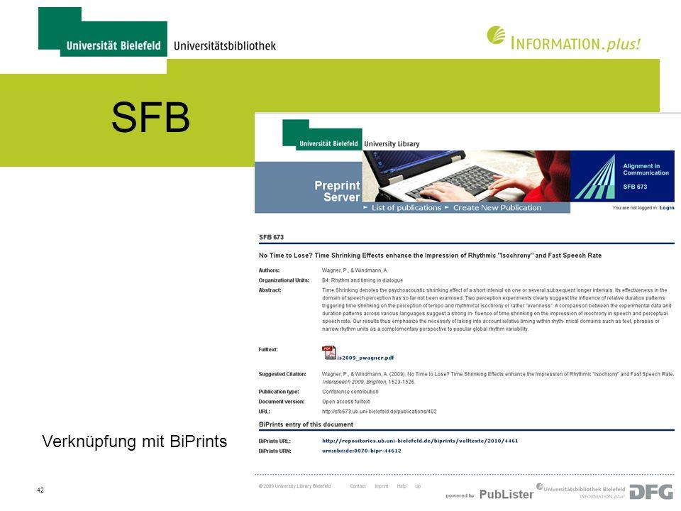 SFB Verknüpfung mit BiPrints