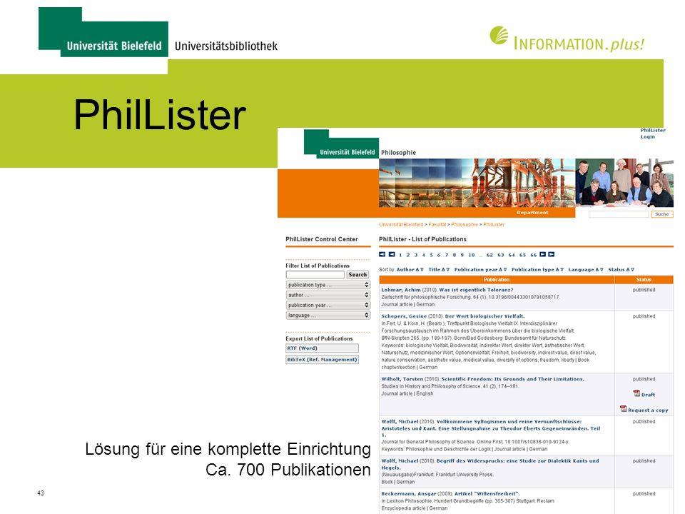PhilLister Lösung für eine komplette Einrichtung Ca. 700 Publikationen